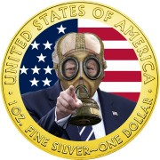 USA DONALD TRUMP Gas Mask COVID series CORONAVIRUS American Silver Eagle 2020 Walking Liberty $1 Silver coin Gold plated 1 oz